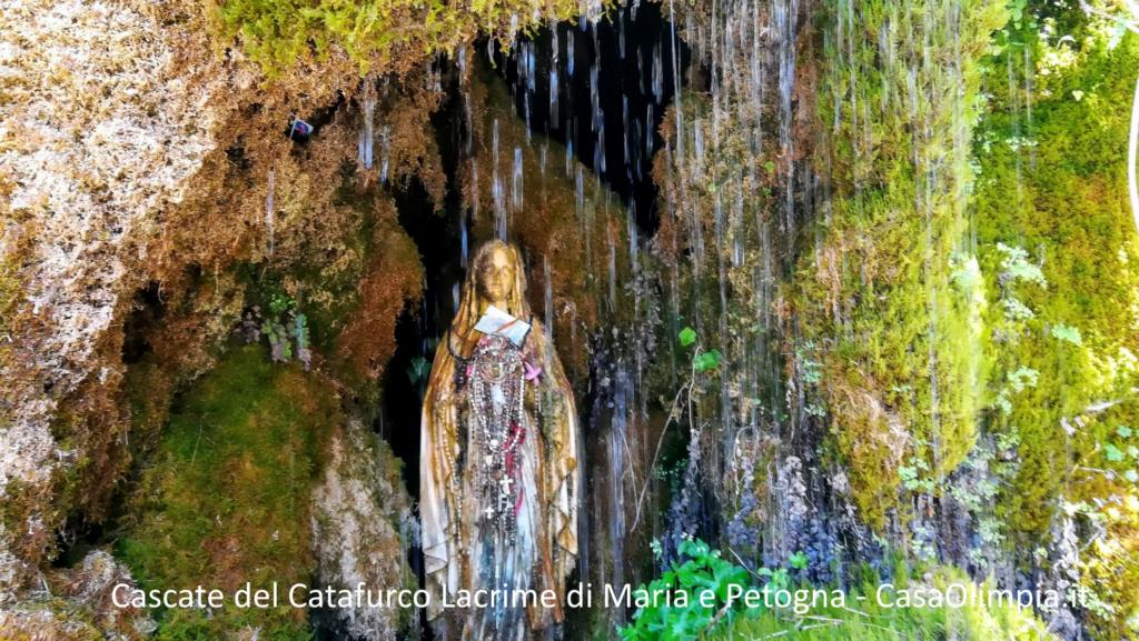 Cascate del Catafurco statua Madonna lacrime di Maria e Petogna