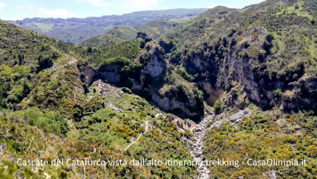 Cascate del Catafurco vista dall'alto itinerario trekking