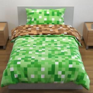 Pacchetto bimbini Minecraft blocco erba lenzuola per letto singolo