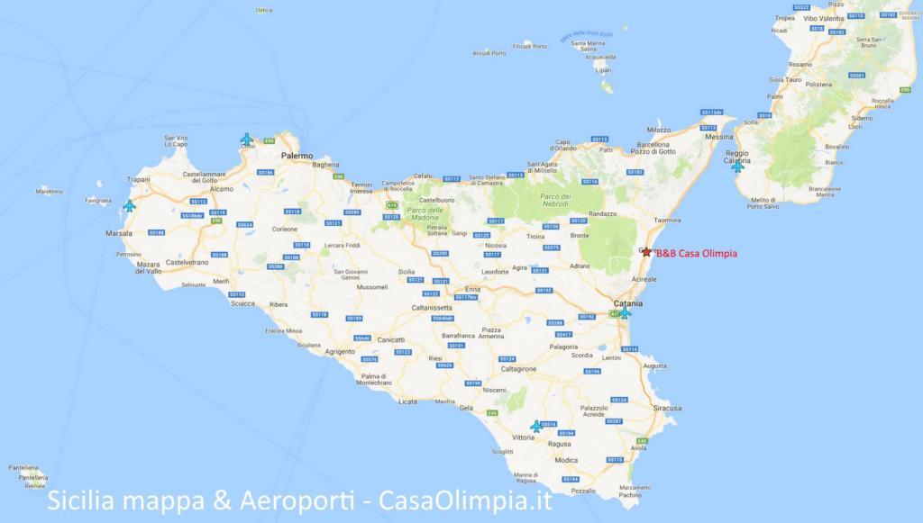 Sicilia mappa cartina Aeroporti
