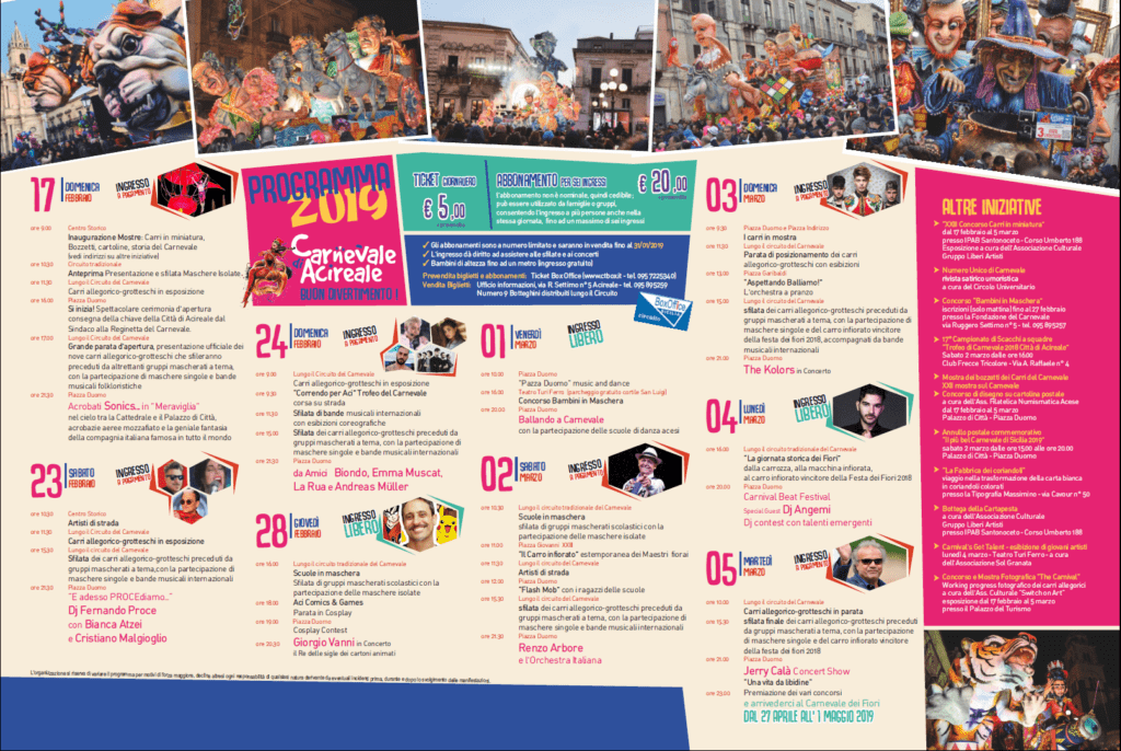 Sicilia Carnevale Acireale 2019 Programma e date