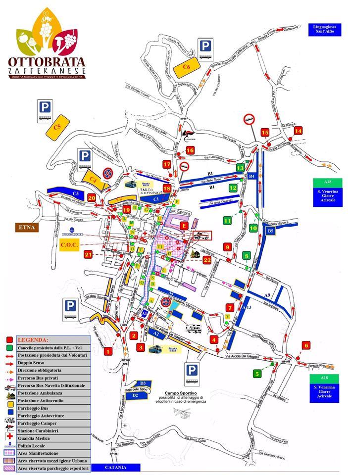 Ottobrata Zafferana 2019 mappa e parcheggi